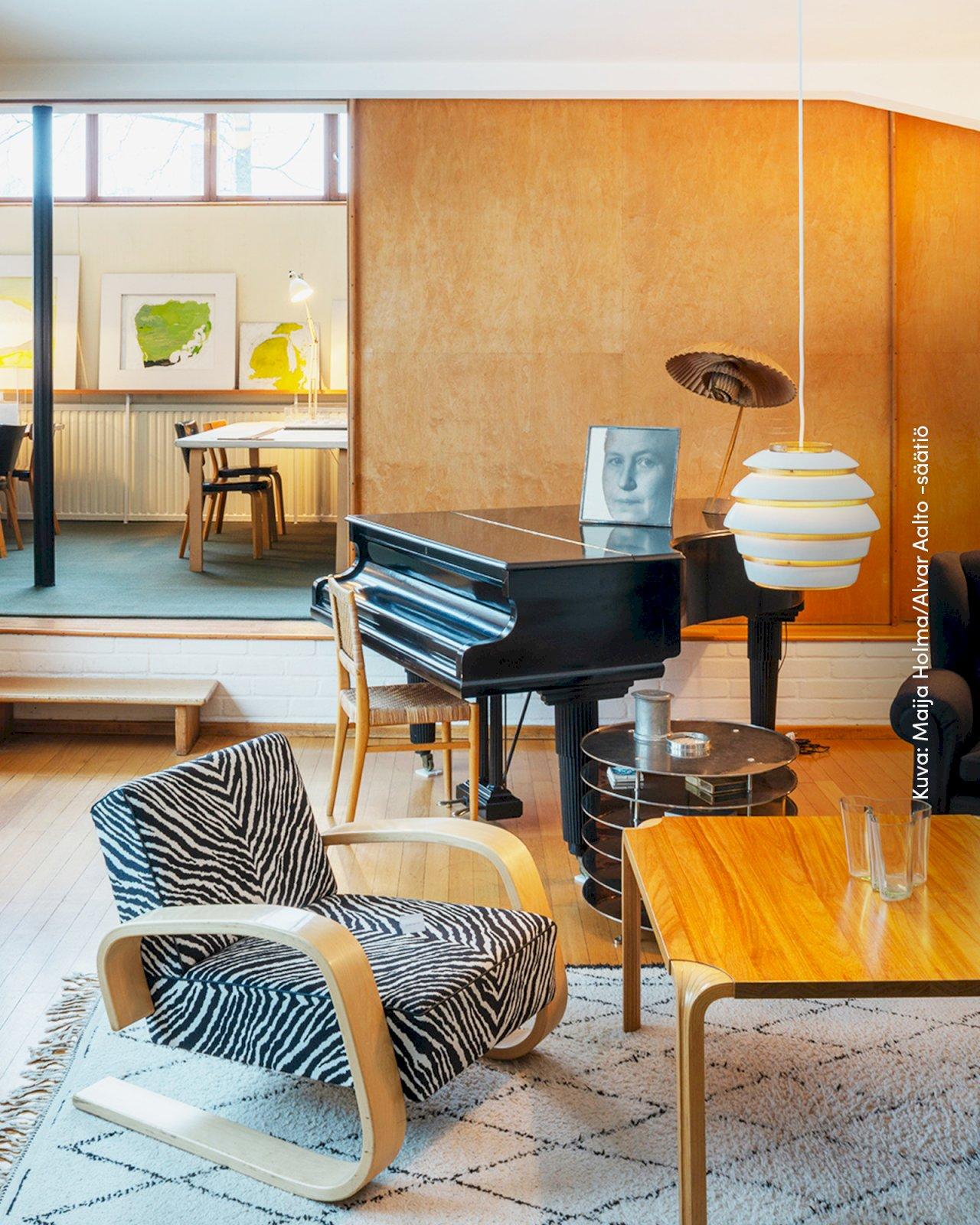 Alvar Aallon kotitalo Helsingissä on sisustettu Aallon suunnittelemilla huonekaluilla.