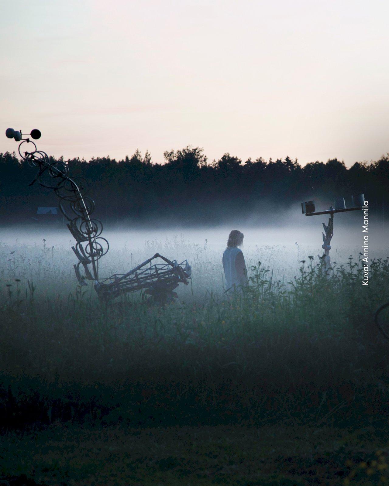 Annina Mannilan valokuvateos naisesta usvaisella pellolla Taidelaitos Haihatuksen näyttelyssä.