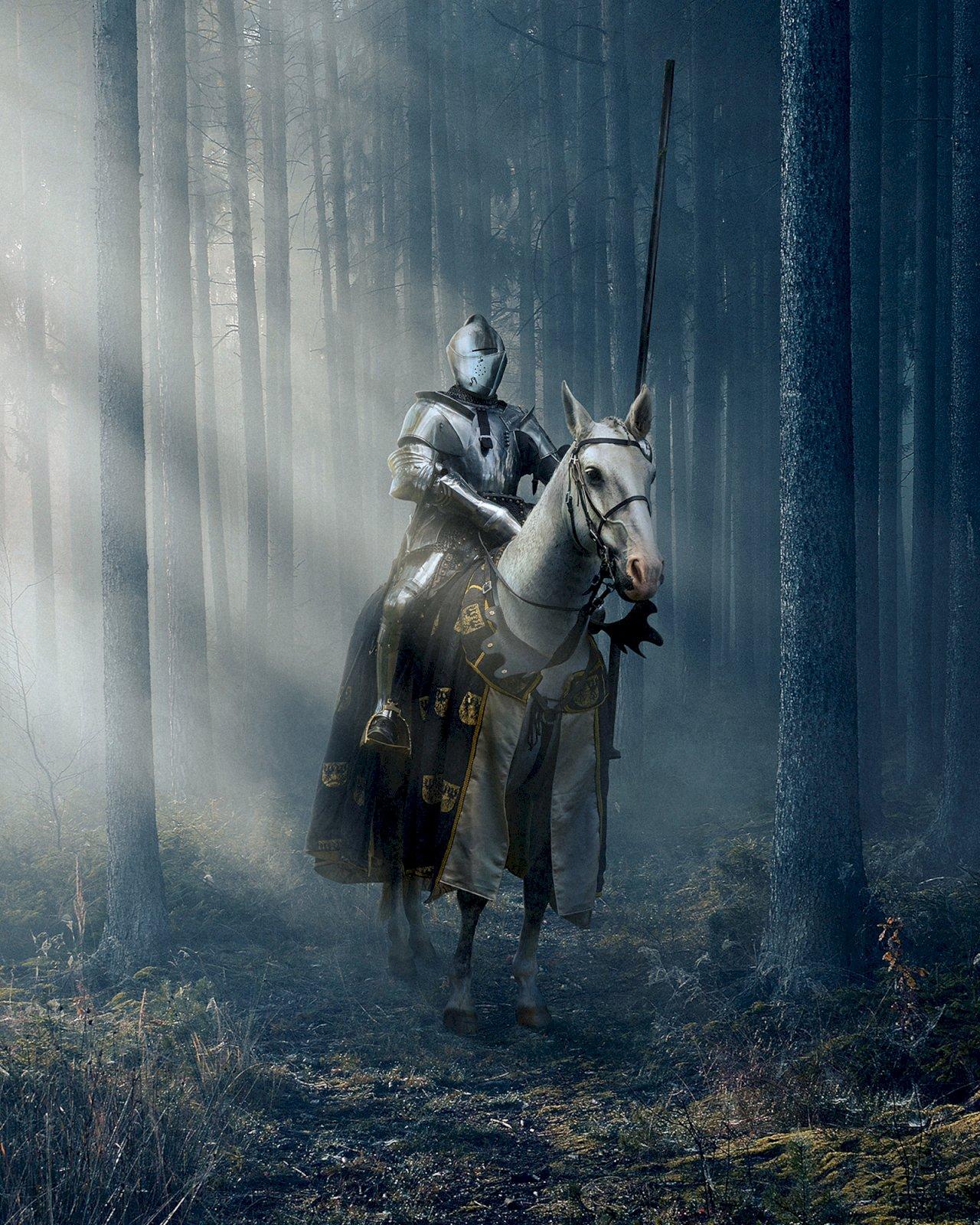 Kuvitettu ritari valkean hevosen selässä hämärässä metsässä.